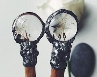 Bamboo hair chopstick with dandelion seeds, chopstick, bamboo chopsticks, magic wand, wand, hair sticks, botanical jewelry, dandelion seed