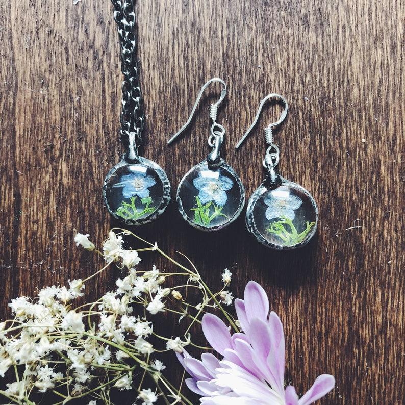 Forget me not earrings Terrarium pressed flower earrings