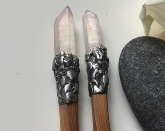 Bamboo hair chopstick/wand with polished rainbow quartz , chopsticks, bamboo chopsticks, wand, magic wand, hair sticks, rainbow white.