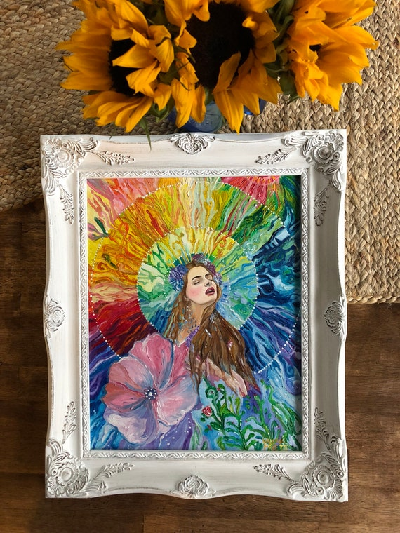 The Awakening Of Eostre Oil Painting On Canvas Paper Folk Oil Painting Colorful Oil Painting Rainbow Oil Painting