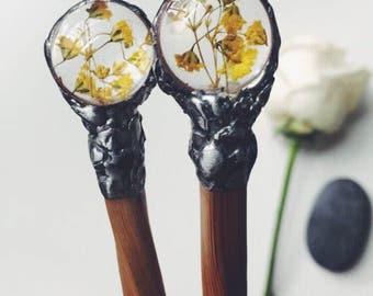 Bamboo hair chopsticks with yellow baby brearh flower, chopsticks, bamboo chopsticks, hair accesories, hair sticks, botanical jewelry, wand