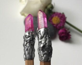 Bamboo hair chopstick/wand with pink quartz , chopsticks, bamboo chopsticks, wand, magic wand, hair sticks, pink aura crystal, pink aura