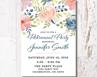 retirement invitations printable pink floral invitation retirement invitations for women blue floral invitation retirement invites