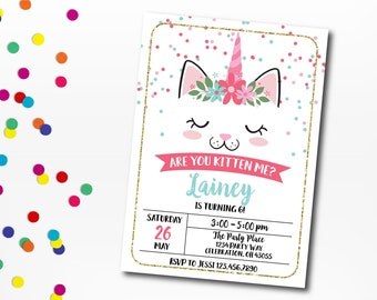 Kitty Party Invitation Cat Invitation Kitten Birthday Etsy