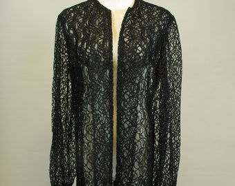 Sheer Black Lace Long Duster Tunic Coat Goth New Romantic New Wave Maxi  Coverup dee354b39