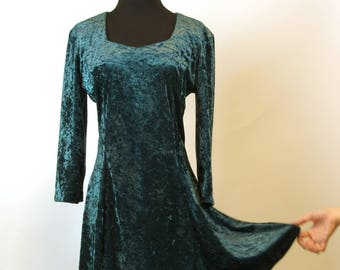 Forest Green Crushed Stretch Velvet Skater Dress 30 inch 76 cm Waist  Princess Neckline 90s Grunge Minidress 2533441ea