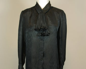 f843091674bcf4 Silky Black Dressy Blouse with Unique Pleated Jabot Bow Front 80s 90s  Christie   Jill label M