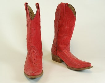 Red Pigskin Pointed Toe Cowboy Boots Approx. Men s Size 7.5 US 7 UK 40  Euro 731956b94