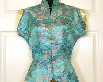 1950s Aqua Blue Asian Brocade Peplum Waist Blouse VLV Burlesque Midcentury