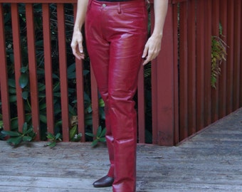 Bright Lipstick Red Leather Boot Cut Jean Style Pants Gap label