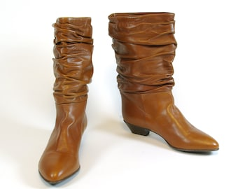 b3af0027b3 Rich Cognac Chestnut Brown Slouch Scrunch Boots Sudini label Italian Low  Heel 80s 90s Boots Size 9B US 6-1 2 UK 49 EUR