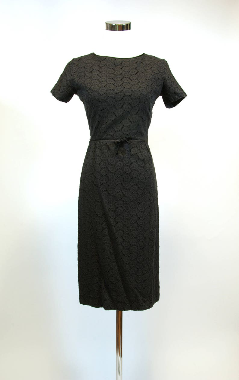 195a5b9b14d Black Cotton Embroidered Eyelet Wiggle Dress 50s60s Day Dress