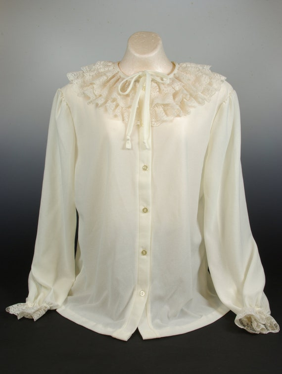 Lacy White Poet Blouse Alley Cat label Creamy Whit
