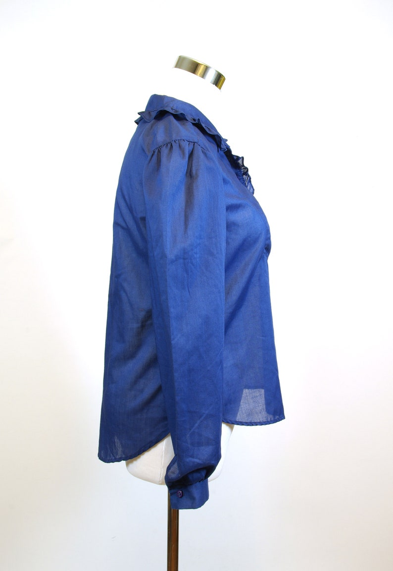80s Ruffled Bib Front Blue Long Sleeve Blouse 80s You Babes label S