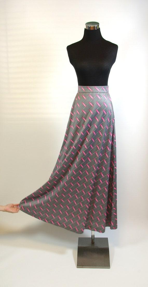 70s Mod Superfly Maxi Skirt Novelty Print Shimmery