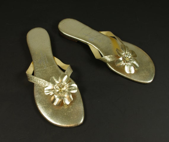 Gold Leather Princess Kaiulani Flower Sandals Thon