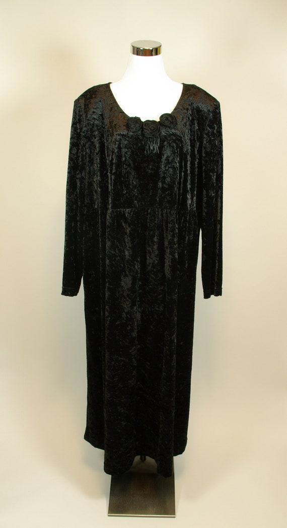 Black Stretch Velvet Dress with Rosettes and Beads