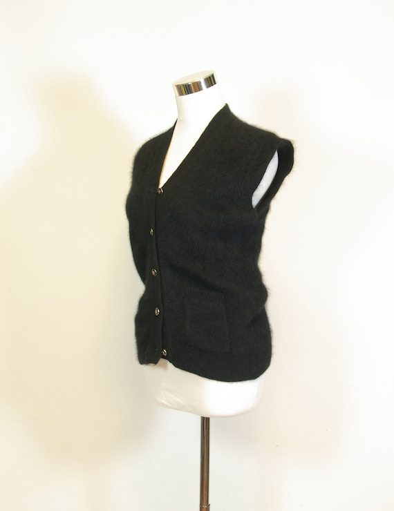 Black Fuzzy Angora Rabbit Hair Sleeveless Cardigan