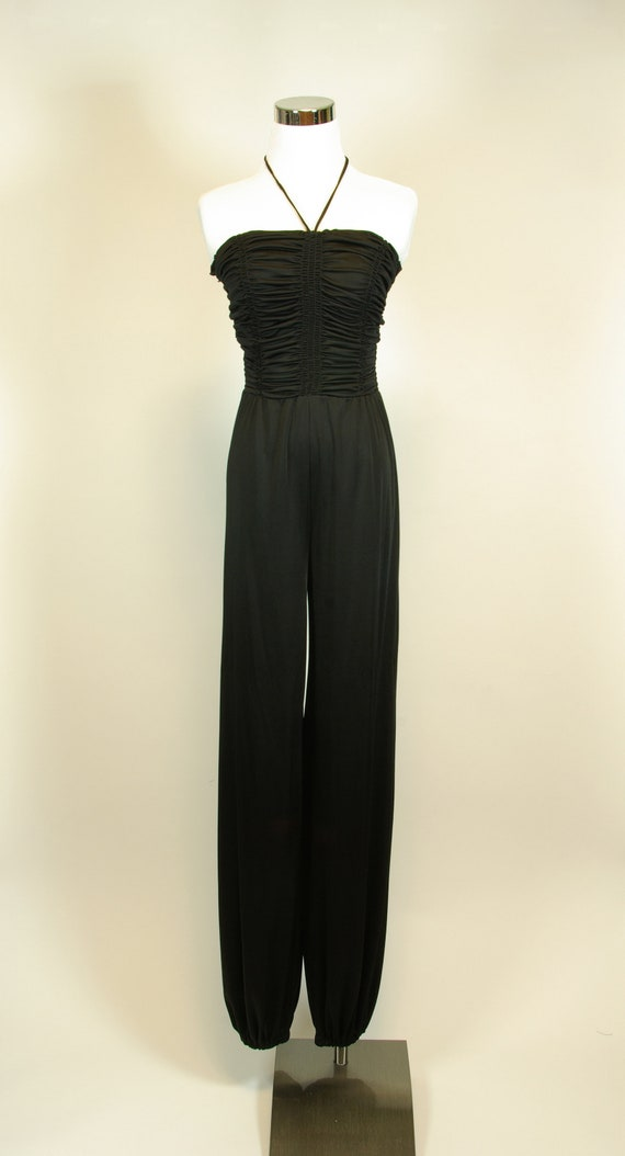 cd7bd819397 Black Shirred Tube Top Sleeveless Jumpsuit Young Edwardian