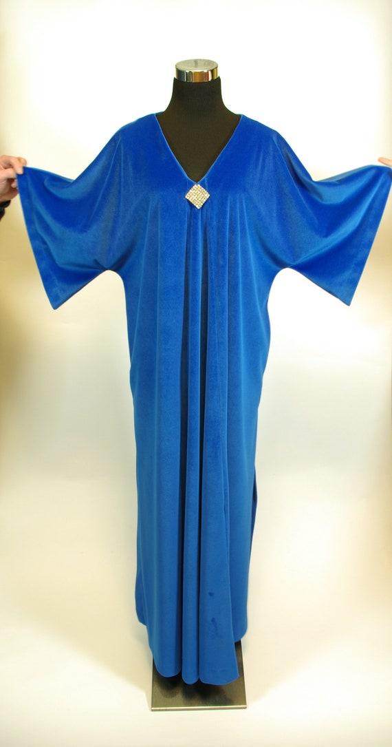Plush Blue with Diamante Caftan David Brown Boutique Maxi Length Hostess Gown Loungewear