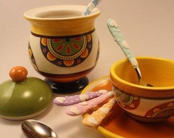 6 handmade decorated teaspoons in pastel colors