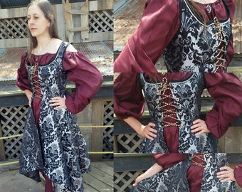 Size M Grace - Jacquard Vest Overdress with Handkerchief Hem - Black Silver Damask