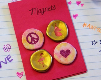 Peace, Love, Unicorns & Flamingos Bottle Cap Magnets | Set of 4 | Hand Crafted