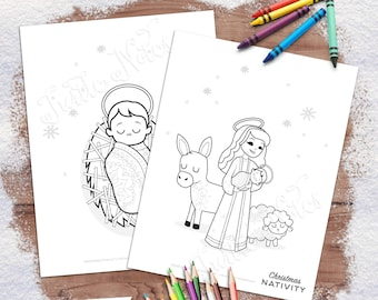 Christmas Nativity Printable Coloring Pages | 12 Digital, Printable Pages