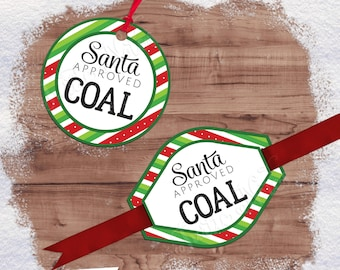 Santa Approved Coal Tag Variation 01 | Digital Printable Gift Tags, Labels, or Stickers | 2 Shapes, Circle, Oval-Diamond