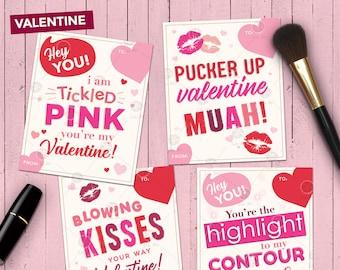 Makeup Themed Valentine Cards | 4 Printable Gift Tags or Valentine's  | Digital