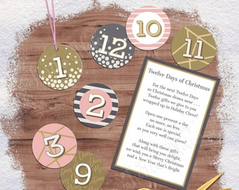 Winter Pink 12 Days of Christmas Gift Tags with Gift Poem | Digital Printable Gift Tags, Labels, or Stickers for 12 Days of Christmas Gifts