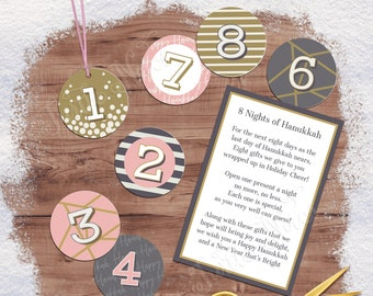 Winter Pink 8 Days of Hanukkah Gift Tags with Gift Poem | Digital Printable Tags, Labels, or Stickers for 8 Days of Christmas Gifts