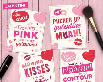 Makeup Themed Galentine Cards | 4 Printable Gift Tags or Valentine's  | Digital
