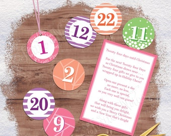 Sherbet 24 Days of Christmas Gift Tags with Gift Poem | Digital Printable Tags, Labels, or Stickers for 24 Days of Christmas Gifts