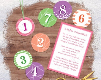 Sherbet 8 Days of Hanukkah Gift Tags with Gift Poem | Digital Printable Tags, Labels, or Stickers for 8 Days of Christmas Gifts