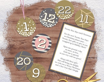 Winter Pink 24 Days of Christmas Gift Tags with Gift Poem | Digital Printable Tags, Labels, or Stickers for 24 Days of Christmas Gifts