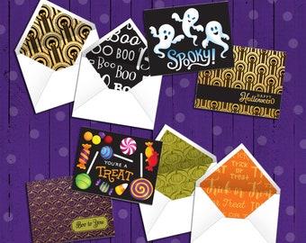 4 Printable Halloween Note Cards | Bonus Matching Printable Envelopes