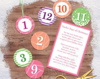Sherbet 12 Days of Christmas Gift Tags with Gift Poem | Digital Printable Gift Tags, Labels, or Stickers for 12 Days of Christmas Gifts