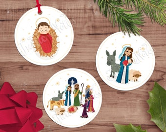 Nativity Scene Christmas Gift Tags  |  12 Digital Printable Tags, Labels, Stickers  |   2.5 inch Circles