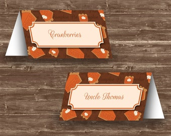 Pumpkin Pie Thanksgiving Place Cards | Editable and Printable | Template