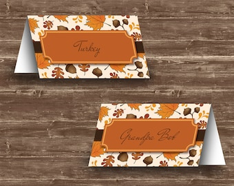 Leaves & Acorns Thanksgiving Place Cards | Editable and Printable | Template