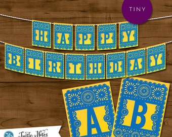 Tiny Blue & Yellow Papel Picado  |  Printable Banner All Letters 0-9 numbers  |  Cake Bunting