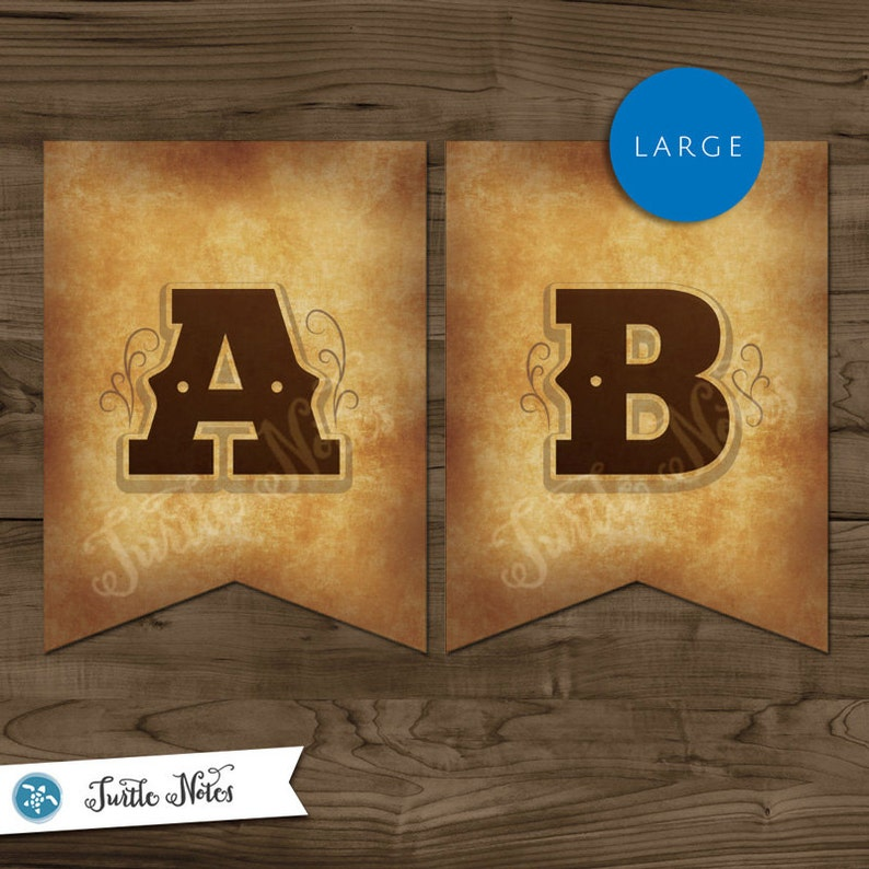 Large Western Themed Banner :  Printable Banner All Letters image 0