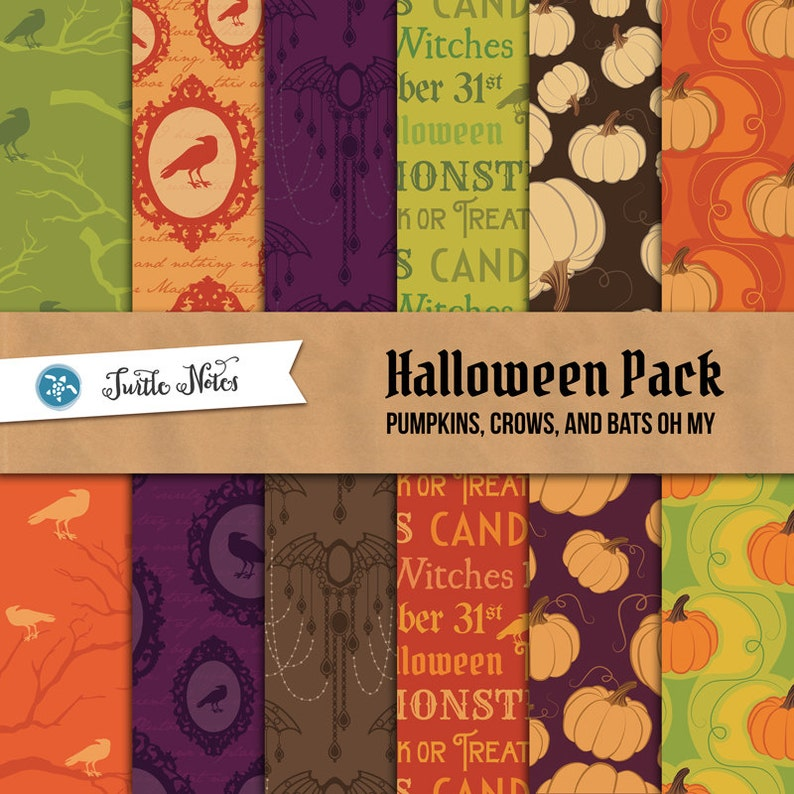 Halloween Pumpkins Crows and Bats Digital Paper Pack  image 0