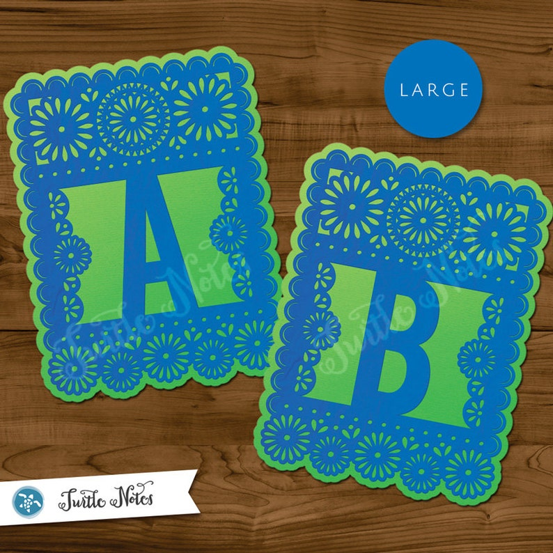 photo about Papel Picado Printable known as Heavy Blue Inexperienced Papel Picado : Printable Banner All Letters 0-9 quantities