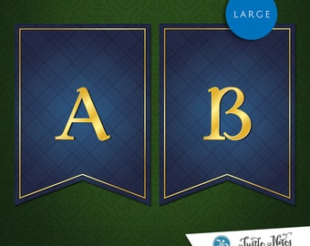 Large Brave Blue Banner :  Printable Banner All Letters 0-9 numbers