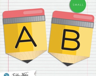 Small Yellow Pencil Back To School  :  Printable Banner All Letters and 0-9 numbers