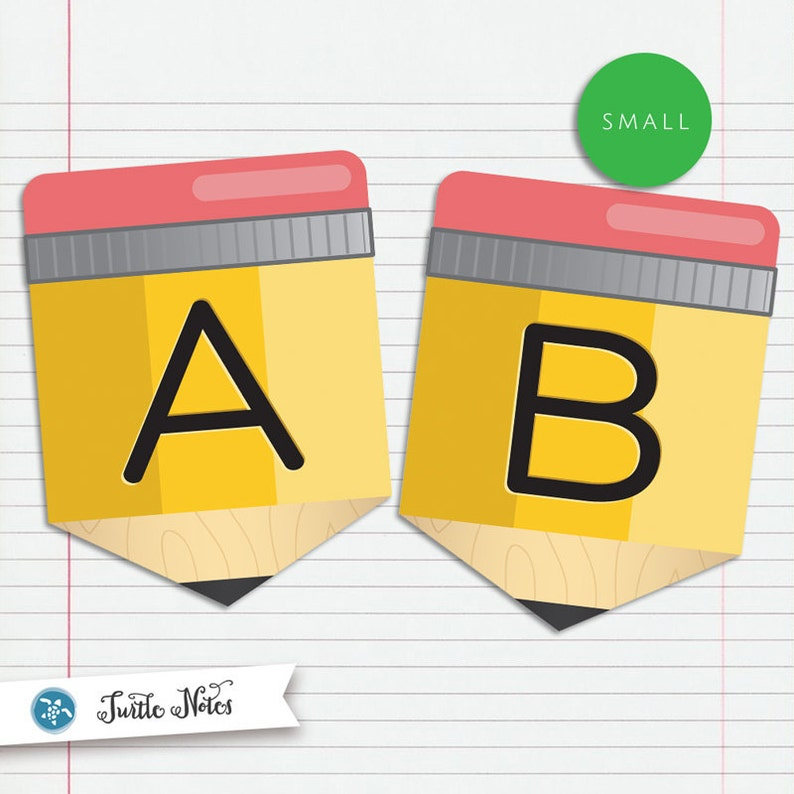 Small Yellow Pencil Back To School  :  Printable Banner All image 0