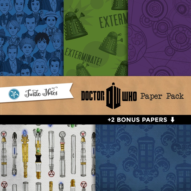 Dr. Who Digital Paper Pack  12x12 Printable Paper  2 image 0
