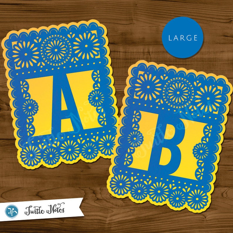 Large Blue & Yellow Papel Picado  :  Printable Banner All image 0